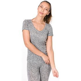 super.natural Base Print 140 Camiseta Cuello en V Mujer, ash melange/ash stars